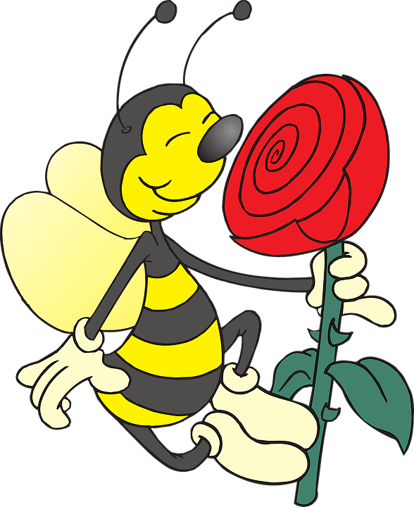 Free vector graphic: Bee, Yellow, Holding, Flower, Rose.