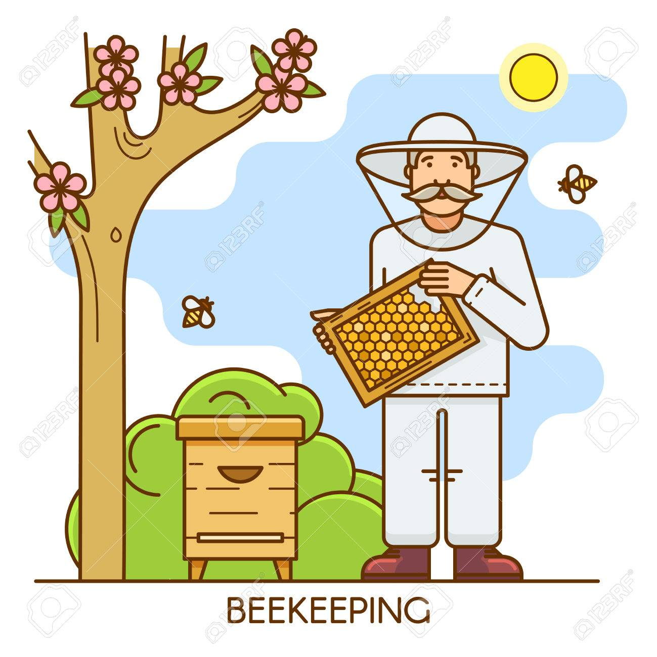 Beekeeper at special costume. Apiary farm man is dressed in a...