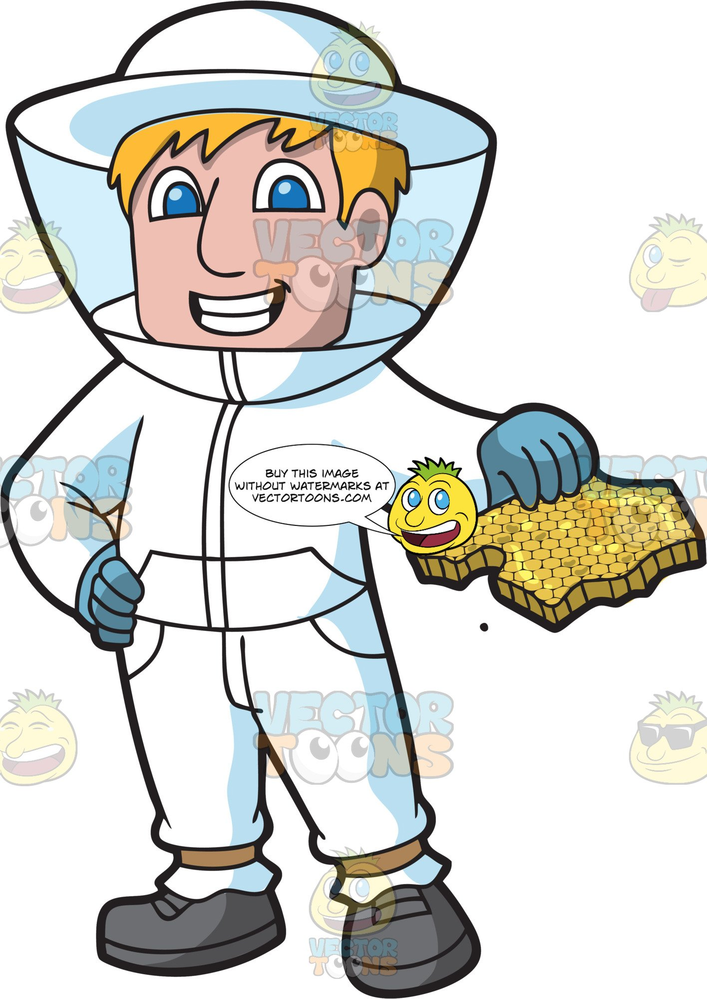 A Male Beekeeper Holding A Honeycomb.