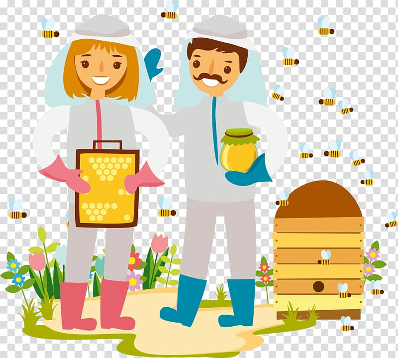 Beekeeper Beekeeping Illustration, bee husband and wife.