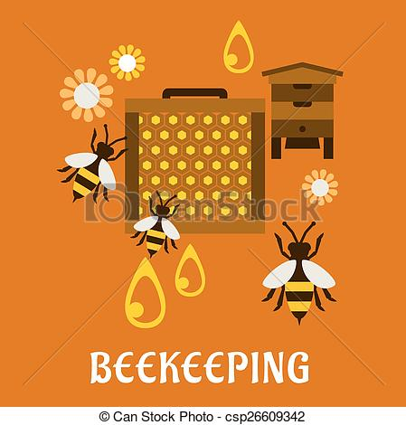 EPS Vector of Flat beekeeping concept with beehive and bees.