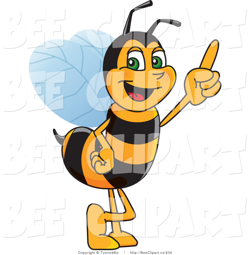 Clip Art of a Worker Bumble Bee Character Mascot Pointing Upwards.