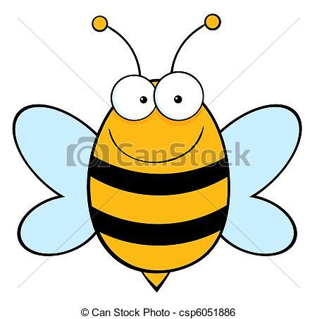 Clip Art Vector of Happy Bee.