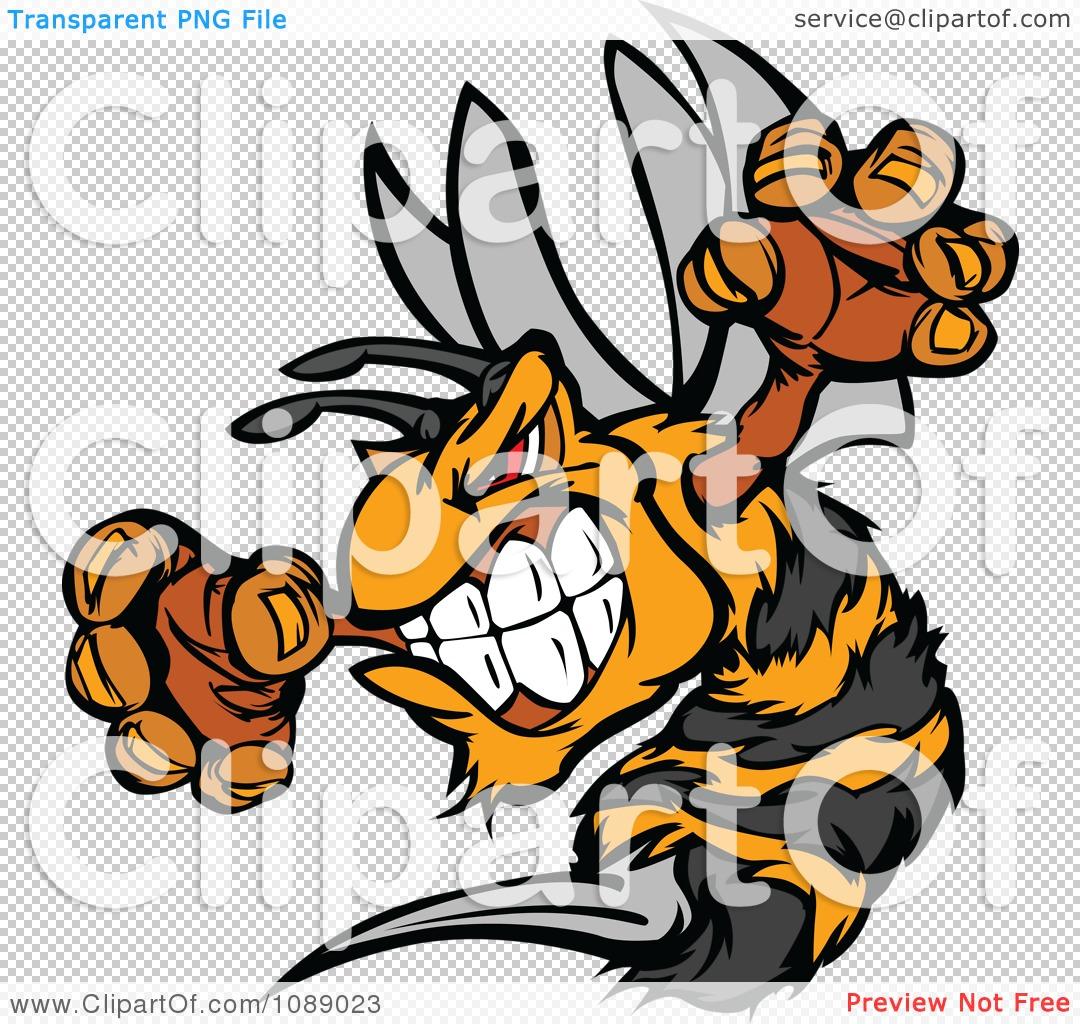 Clipart Stinging Bee Mascot.