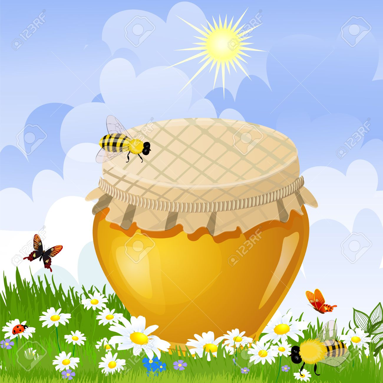 Jar Sweet Honey In The Flower Meadow Royalty Free Cliparts.