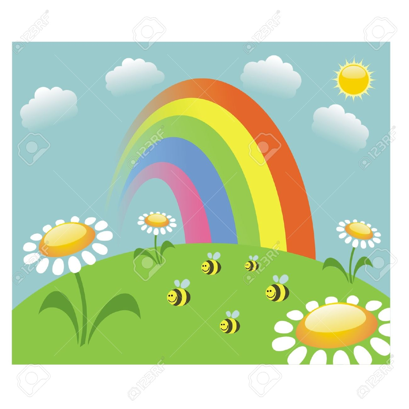 Summer Meadow With Rainbow And Bees Royalty Free Cliparts, Vectors.