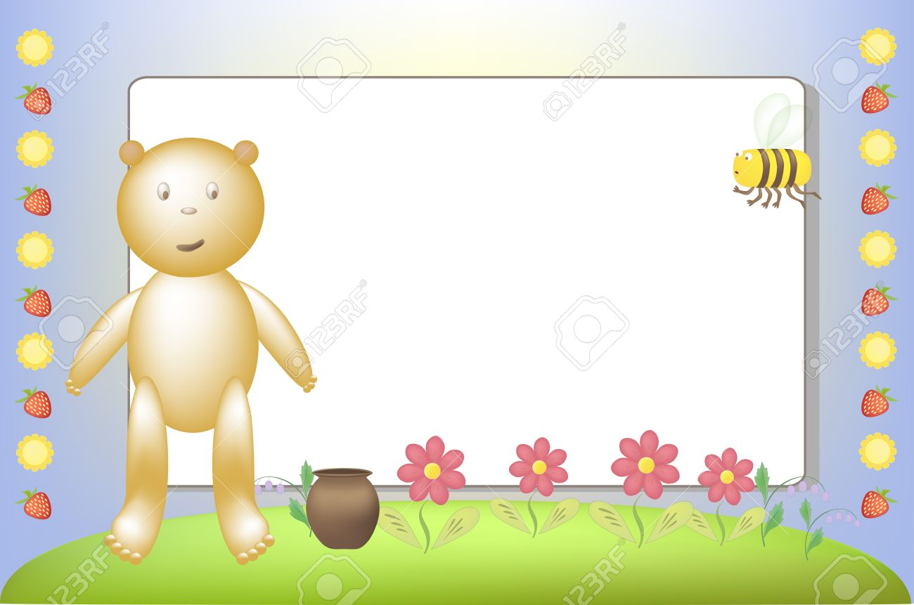 Little Bear And A Bee On A Meadow Royalty Free Cliparts, Vectors.