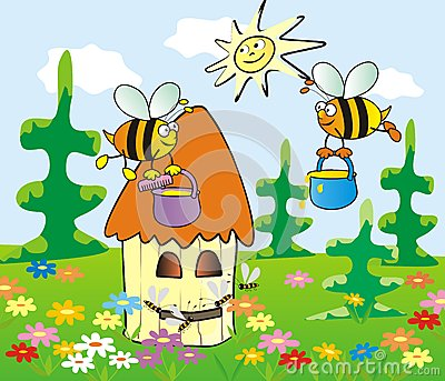 Vector Bee And Honey Illustration Cute Set Stock Vector.