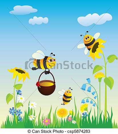 Vectors of Meadow and bees.