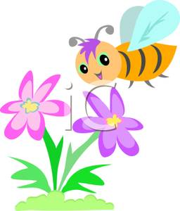 Bee on flower clipart » Clipart Station.