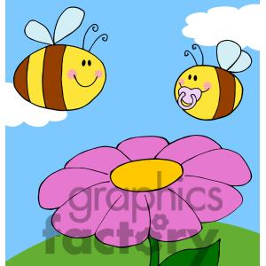 Flower and bee clipart.