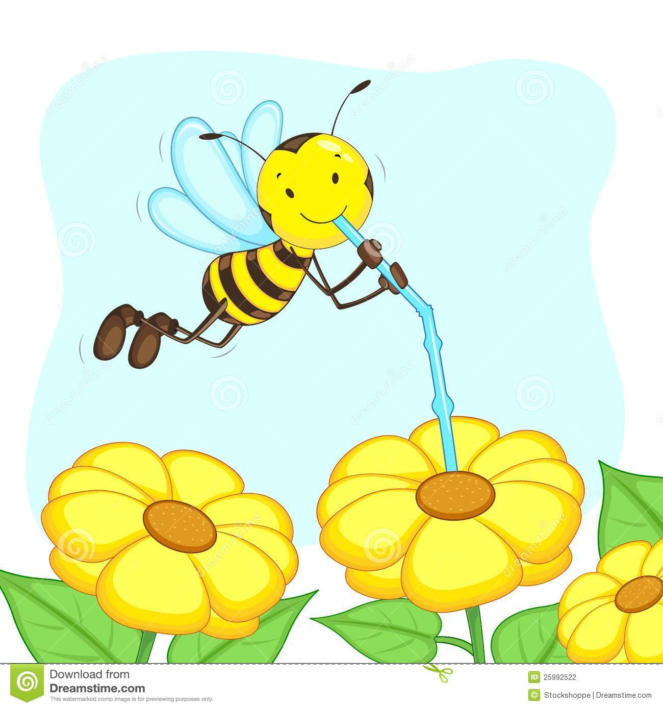 Honey bee on flower clipart.