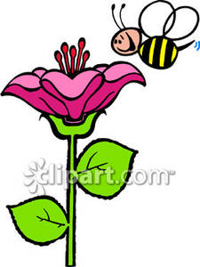 Flower with bee clipart.