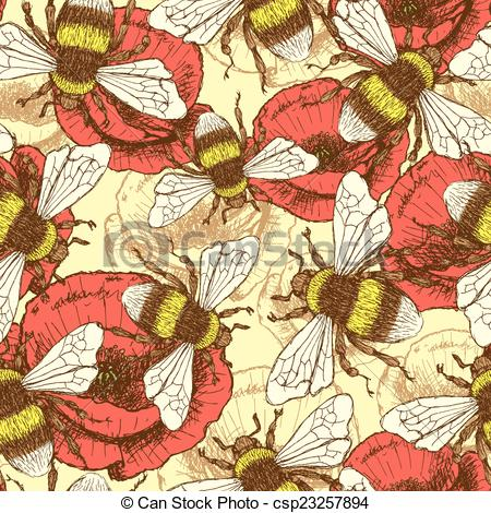 EPS Vectors of Sketch bee and poppy in vintage style, vector.