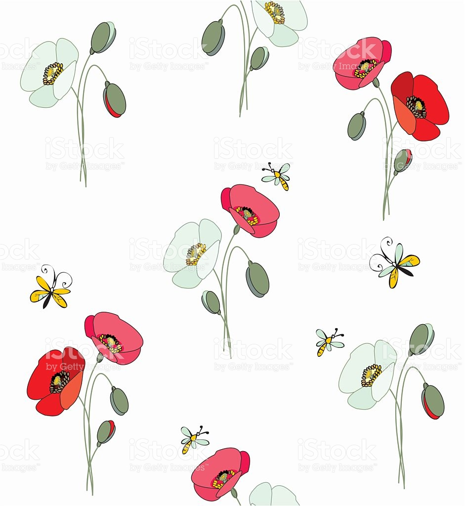 Red And White Poppies With Butterflies And Bees stock vector art.