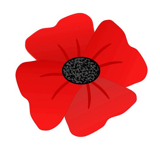Red poppy flower clip art 8cm.