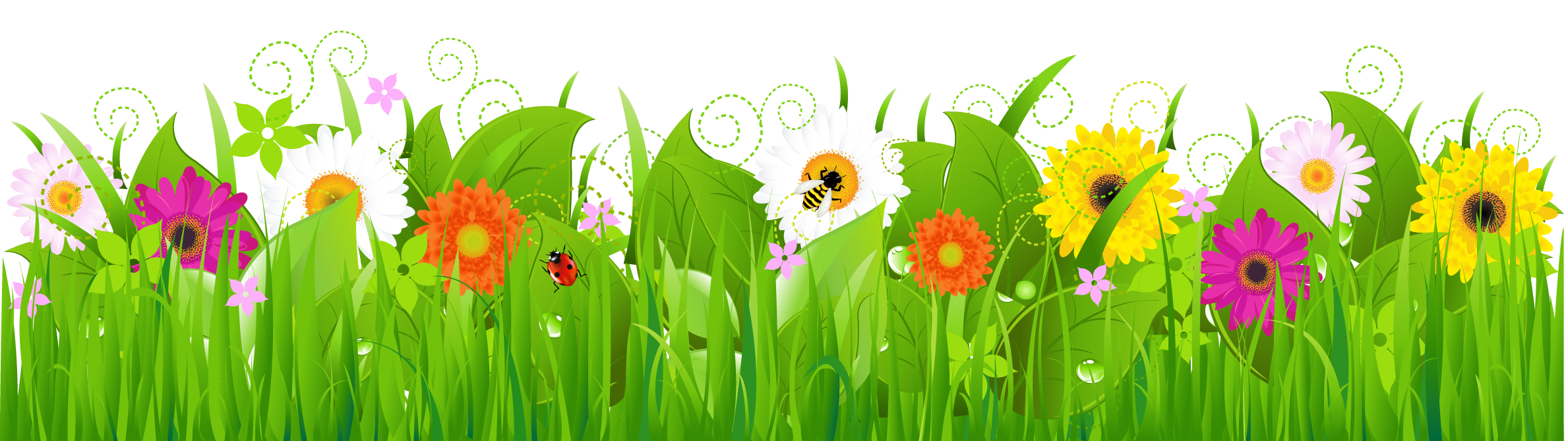 Clipart grass and flowers.