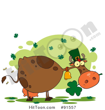 Cow Clipart #101217: Bee Flying Towards a Lone Calf in a Pasture.