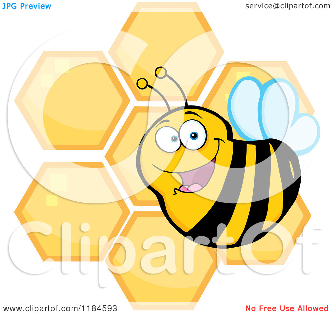 Cartoon of a Happy Bee over Honeycombs.
