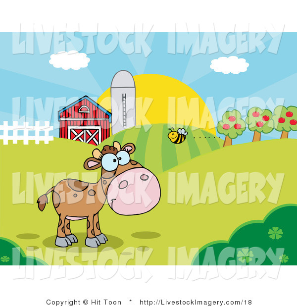 Clip Art of a Bee Flying Towards a Lone Brown Calf in a Pasture on.