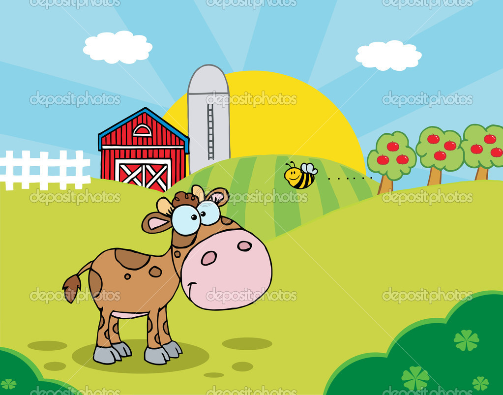 Bee Flying Towards A Lone Calf In A Pasture — Stock Photo.