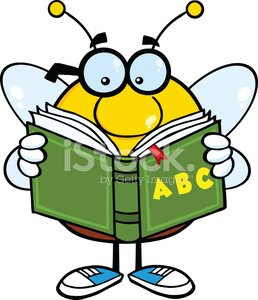 Bee Cartoon Mascot Character With Glasses Reading A ABC Book.