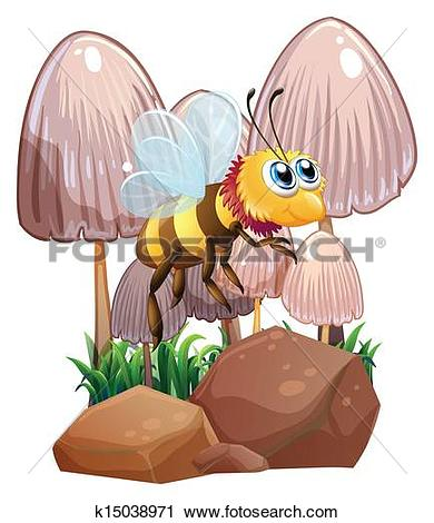 Clipart of A bee near the mushrooms and rocks k15038971.