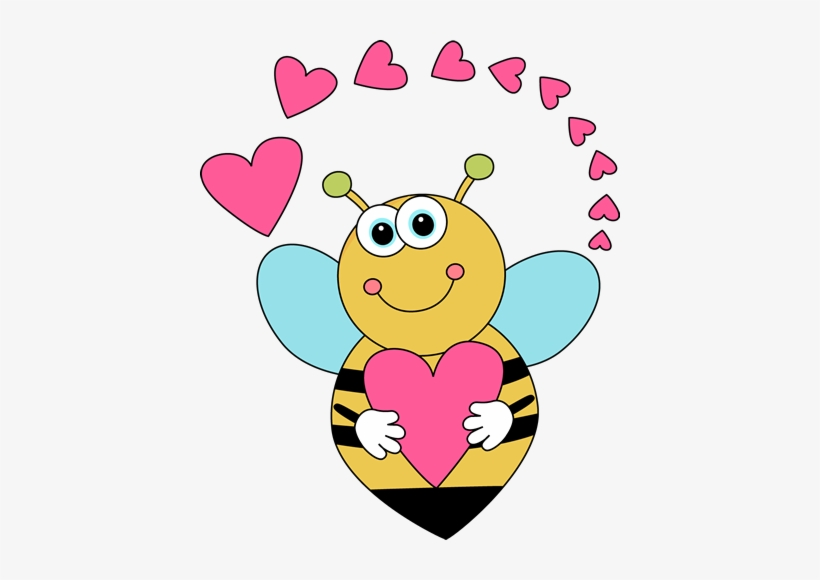 Cartoon Valentine's Day Bee And Hearts Clip Art.