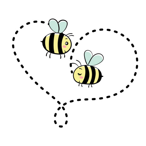 Happy Bee Love Honey Jar Valentine Illustrations, Royalty.
