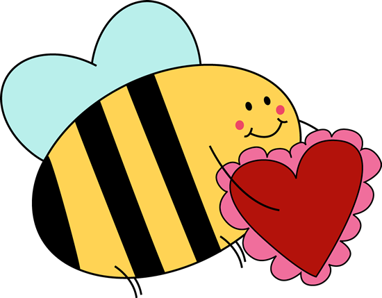 Bee Carrying Valentine Heart Clip Art.
