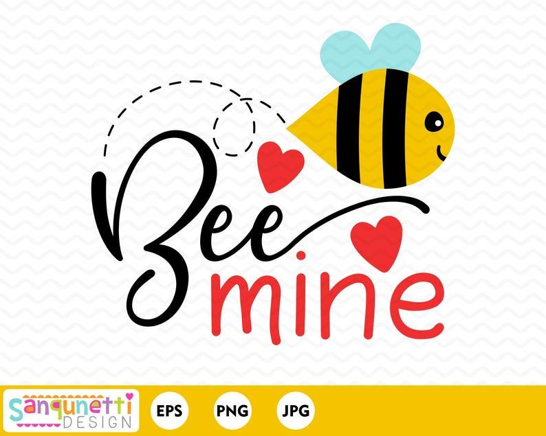 Bee Mine Valentine clipart, holiday digital art.