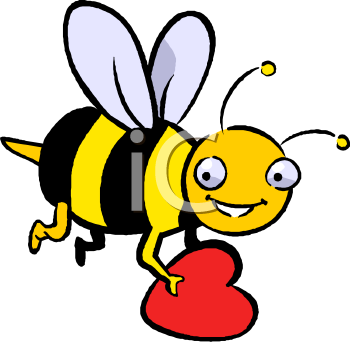 Bee Holding a Valentine.
