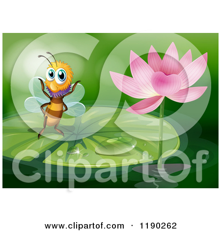 Cartoon of a Pink Lotus Flower and Lily Pad over Green.