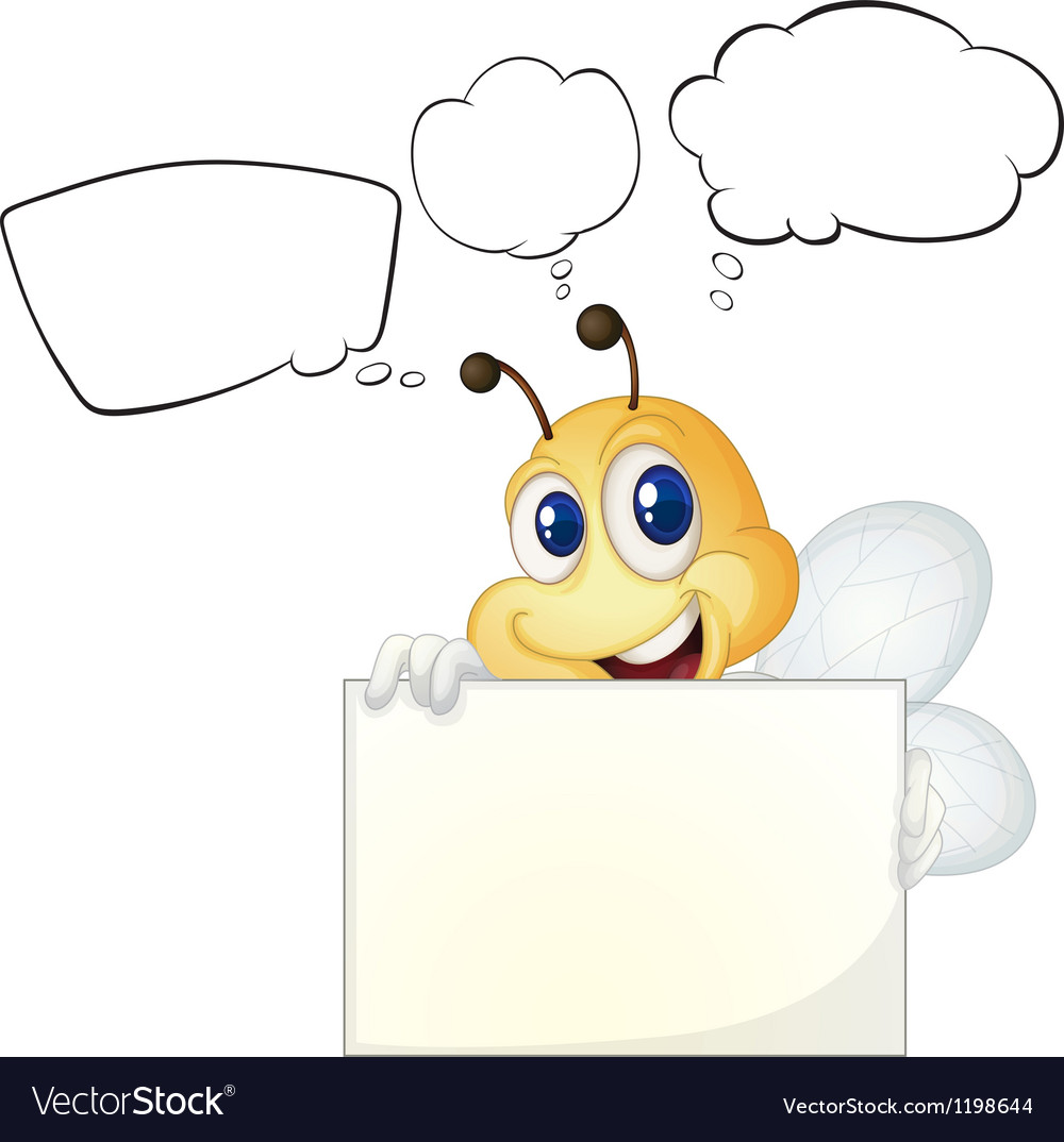 A bee holding a white board.
