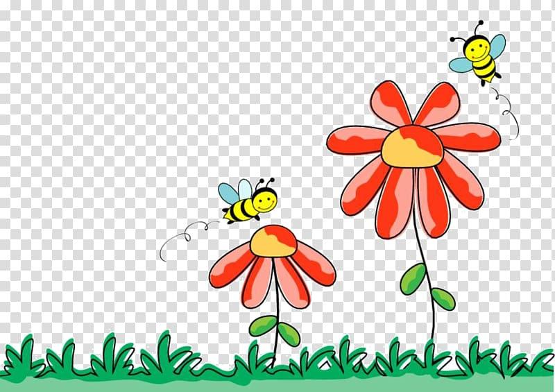 Bee , Cartoon grass flowers transparent background PNG.