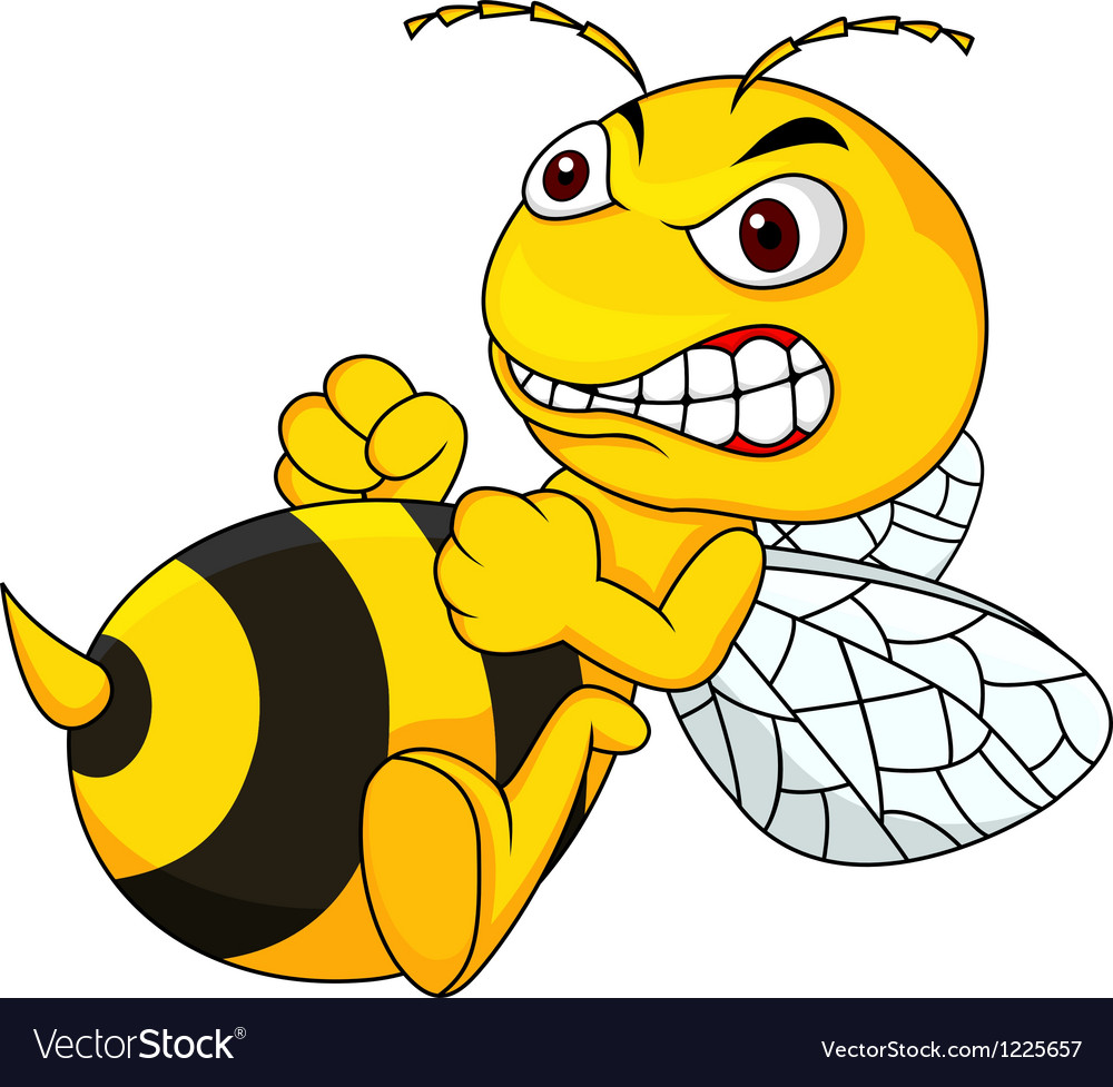 Angry bee cartoon.