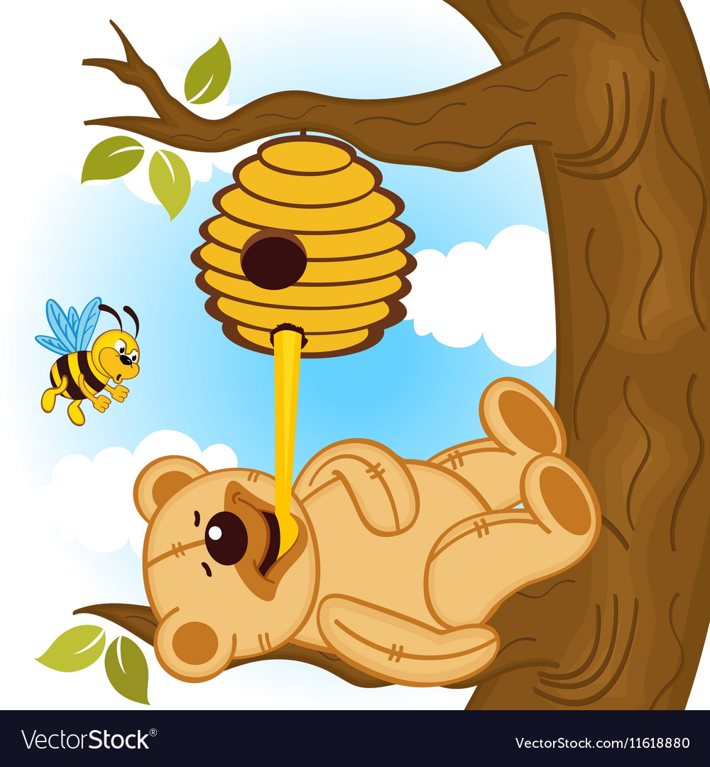 Teddy bear eats honey bee.