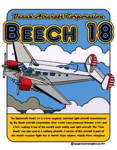 Airport Coloring Book Beech 18 for coloring.