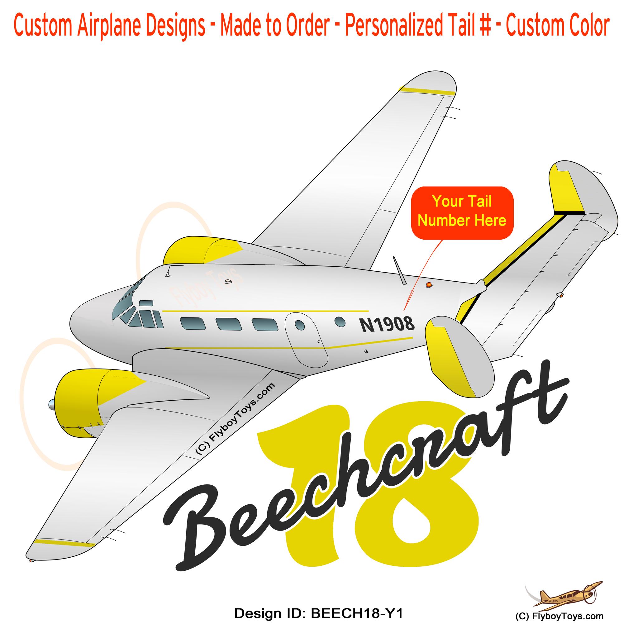 """Beechcraft Beech 18 """"Twin Beech"""" (Yellow) Airplane Design."""