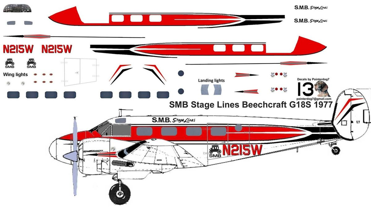 SMB Stage Lines Beechcraft G18S 1977.