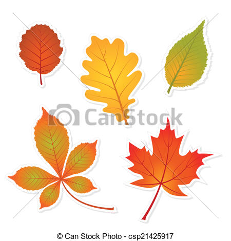 Vector Clip Art of autumn set of leaves stickers with shadows.