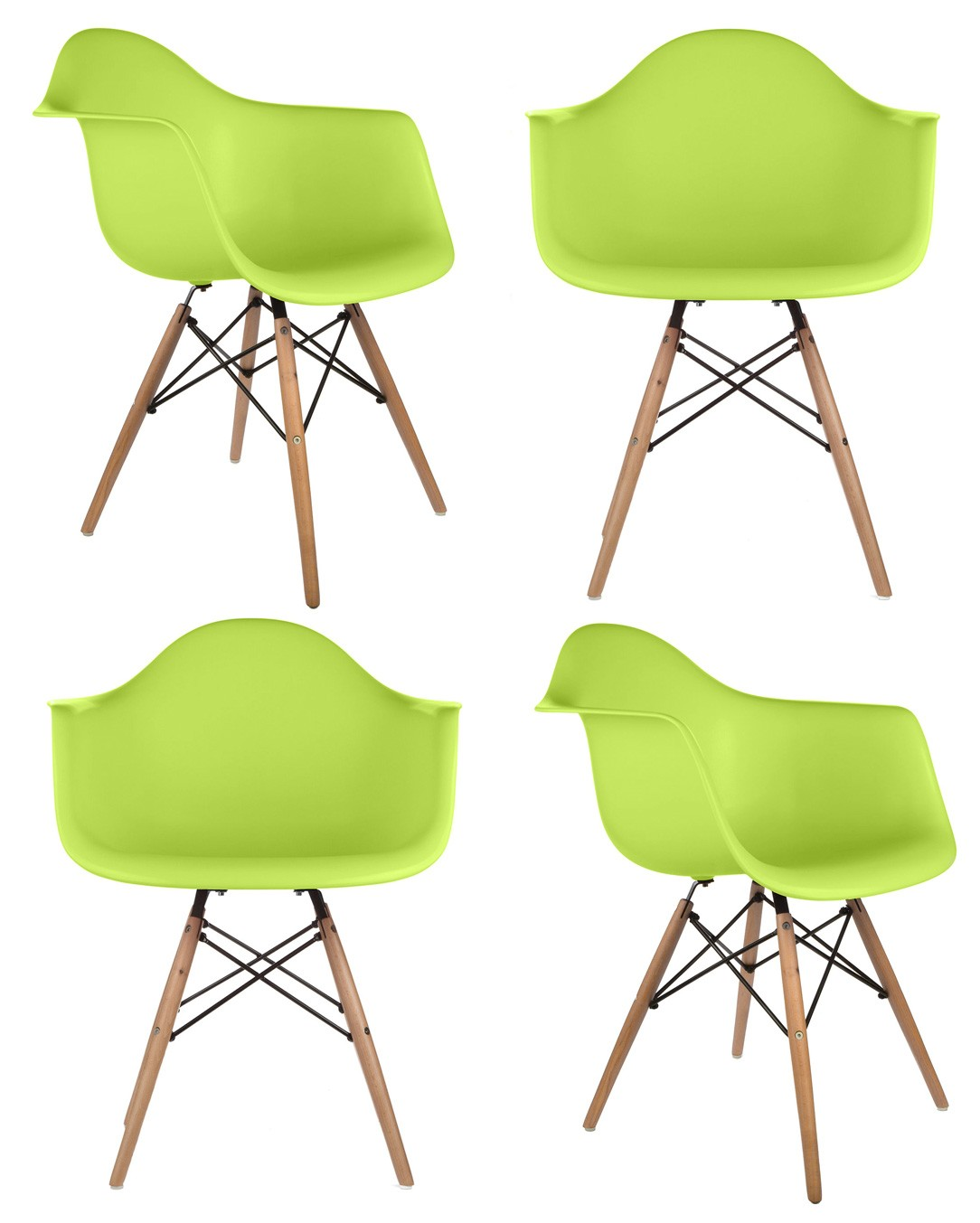 Set of 4 Eames Style DAW Molded Lime Green Plastic Dining Armchair.