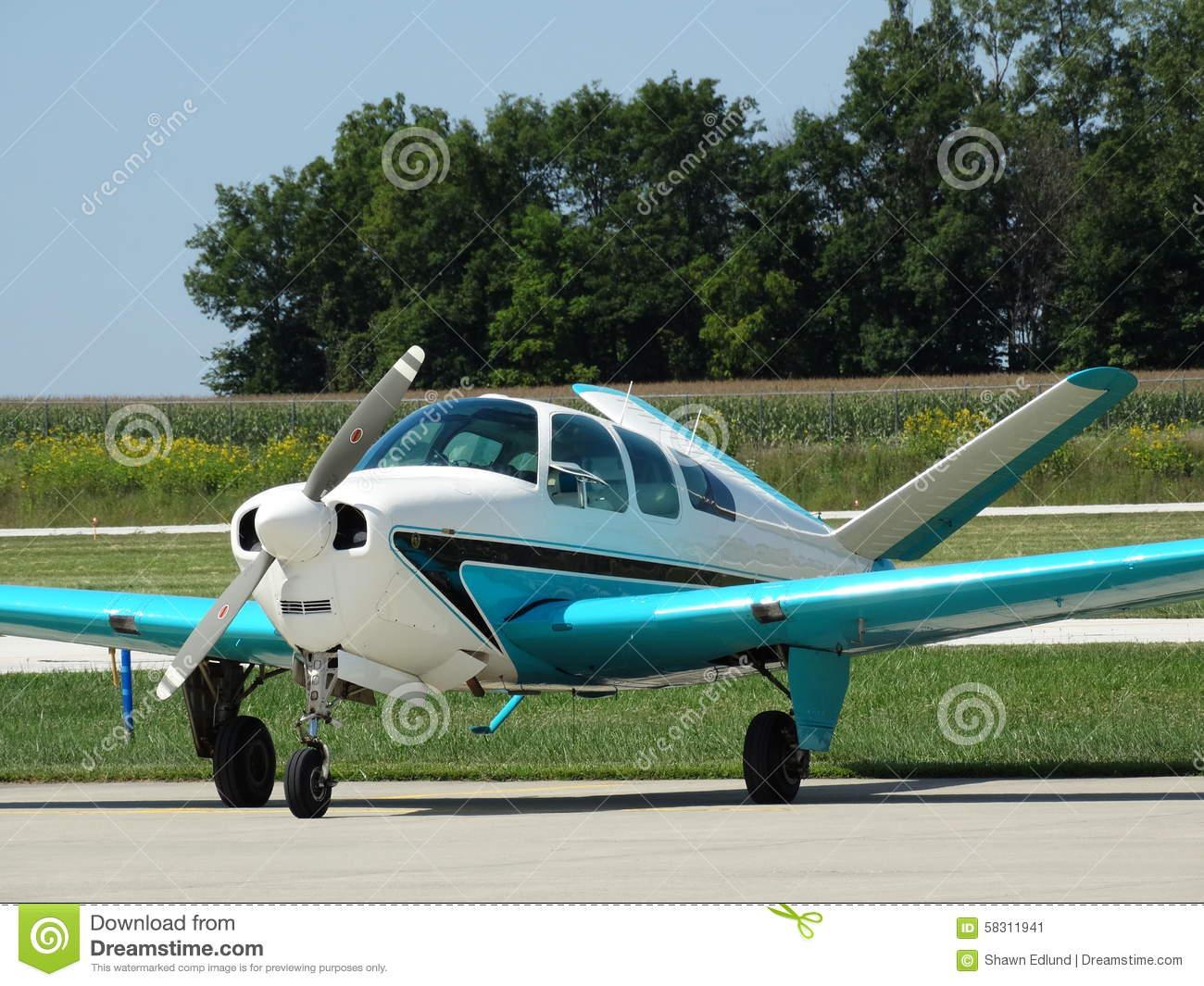 Beautifully Restored Classic Beechcraft Bonanza F35. Editorial.