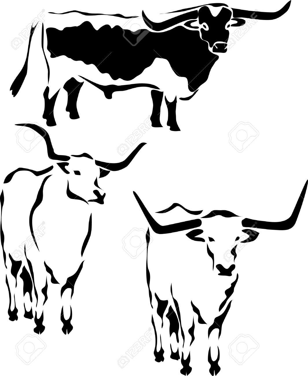 Texas Longhorn Bull Royalty Free Cliparts, Vectors, And Stock.