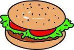 Clip Art of burger isolated on white drawn in toddler art style.