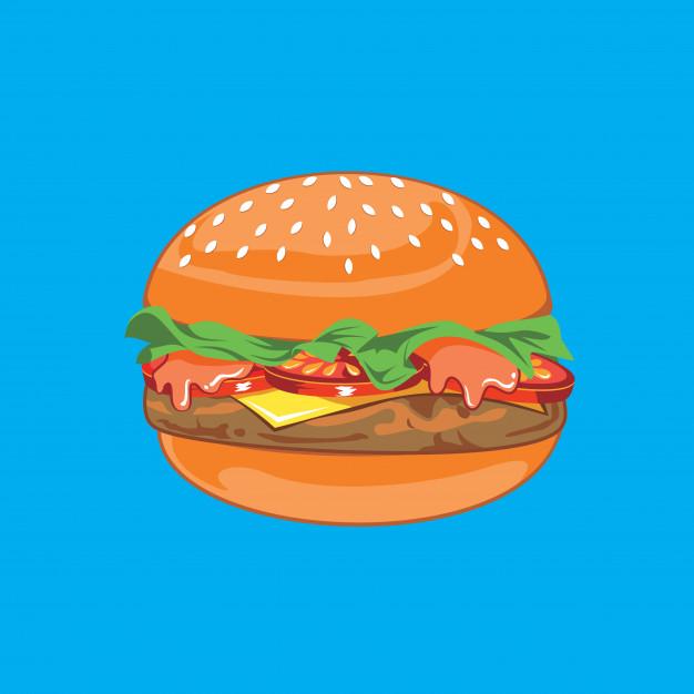 Beef burger illustration vector clipart Vector.