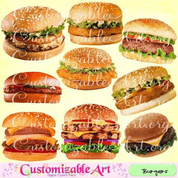 Burger Clipart Digital Burgers Clip Art Hamburger Clipart.