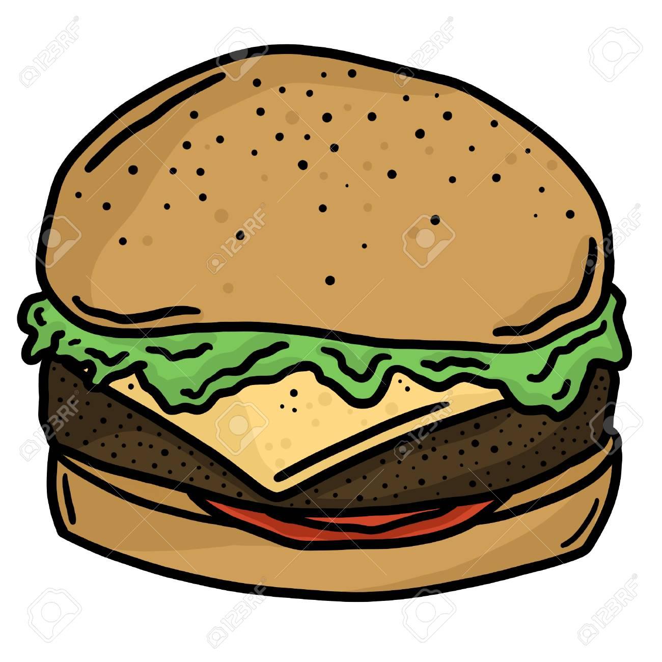 Beef Burger Fast Food Line Art Vector Illustration Clip Art.