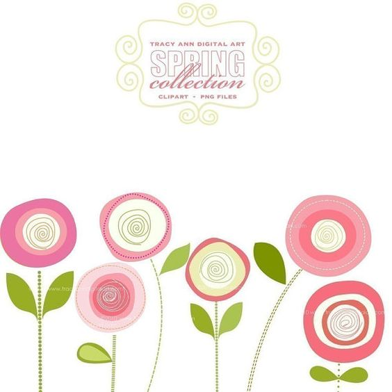 CLIP ART Pink Blooms commercial and by TracyAnnDigitalArt.