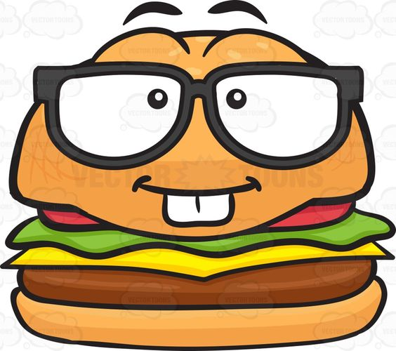 Nerd Looking Cheeseburger Wearing Eye Glasses.